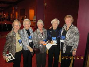"""Lea Berry, Janet Small, Betty Vagedes, Jane Hempstead, Mickey Roberts on their way to the President's reception dressed in their """"bling""""."""