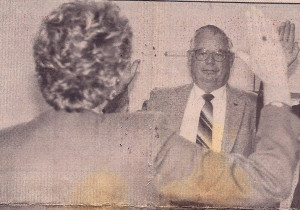 Pictured above, Paul Mueller is sworn is as the first Mayor of Fairfield Bay, November 19, 1993.