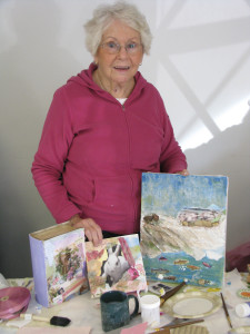 Louise Shaw enjoyed many art activities with her friends at NCA Artist League. Here she displays three works in progress at a collage workshop.