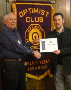 Harvey Mook  welcomes Andy Chisum, the West Side School District Superintendent, to membership in the Greers Ferry Optimist Club.