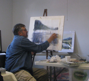 Duane Hada demonstrated a fly fishing river scene in watercolor to NCA Artist League members earlier this year; he is returning to teach a plein air acrylic class in September..           Photo courtesy of Joyce Hartman