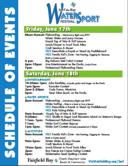 Surf Schedule of Events