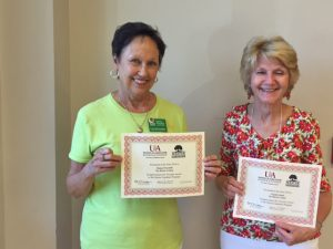 Dianne Percefull and Claudia Sands receive their 10 Year Pins.